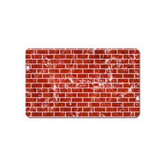 Brick1 White Marble & Red Marble Magnet (name Card)