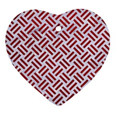 Woven2 White Marble & Red Leather (r) Heart Ornament (two Sides) by trendistuff