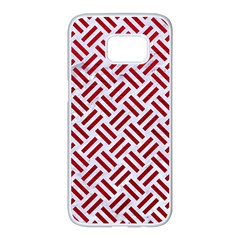Woven2 White Marble & Red Leather (r) Samsung Galaxy S7 Edge White Seamless Case