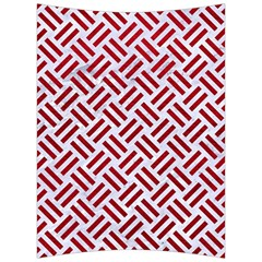 Woven2 White Marble & Red Leather (r) Back Support Cushion by trendistuff