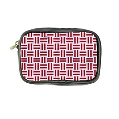 Woven1 White Marble & Red Leather (r) Coin Purse by trendistuff