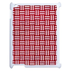 Woven1 White Marble & Red Leather Apple Ipad 2 Case (white) by trendistuff