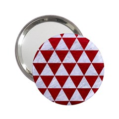 Triangle3 White Marble & Red Leather 2 25  Handbag Mirrors by trendistuff