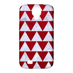Triangle2 White Marble & Red Leather Samsung Galaxy S4 Classic Hardshell Case (pc+silicone) by trendistuff
