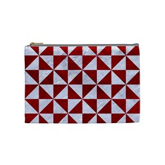 Triangle1 White Marble & Red Leather Cosmetic Bag (medium)  by trendistuff