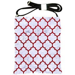 Tile1 White Marble & Red Leather (r) Shoulder Sling Bags by trendistuff
