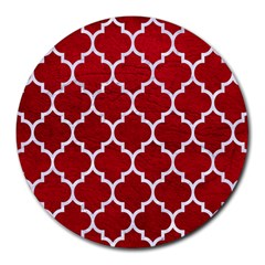 Tile1 White Marble & Red Leather Round Mousepads