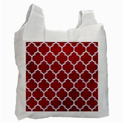 Tile1 White Marble & Red Leather Recycle Bag (two Side)
