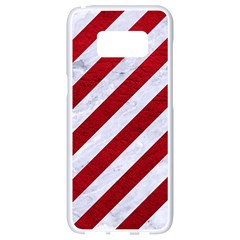 Stripes3 White Marble & Red Leather (r) Samsung Galaxy S8 White Seamless Case
