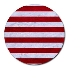 Stripes2white Marble & Red Leather Round Mousepads