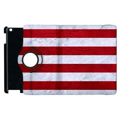 Stripes2white Marble & Red Leather Apple Ipad 2 Flip 360 Case by trendistuff