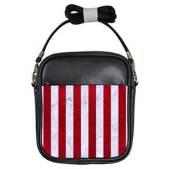Stripes1 White Marble & Red Leather Girls Sling Bags by trendistuff