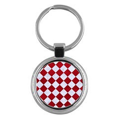 Square2 White Marble & Red Leather Key Chains (round)  by trendistuff