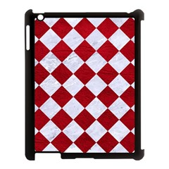 Square2 White Marble & Red Leather Apple Ipad 3/4 Case (black) by trendistuff
