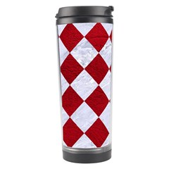 Square2 White Marble & Red Leather Travel Tumbler by trendistuff