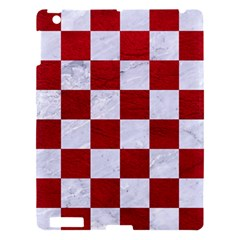 Square1 White Marble & Red Leather Apple Ipad 3/4 Hardshell Case by trendistuff