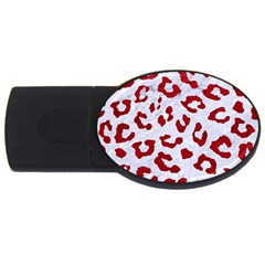 Skin5 White Marble & Red Leather Usb Flash Drive Oval (4 Gb)