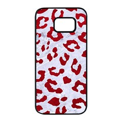 Skin5 White Marble & Red Leather Samsung Galaxy S7 Edge Black Seamless Case