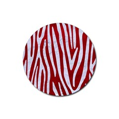 Skin4 White Marble & Red Leather (r) Rubber Coaster (round)  by trendistuff