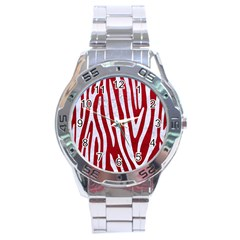 Skin4 White Marble & Red Leather (r) Stainless Steel Analogue Watch by trendistuff