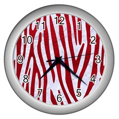 Skin4 White Marble & Red Leather Wall Clocks (silver)  by trendistuff
