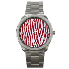 Skin4 White Marble & Red Leather Sport Metal Watch by trendistuff