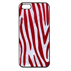 Skin4 White Marble & Red Leather Apple Iphone 5 Seamless Case (black) by trendistuff