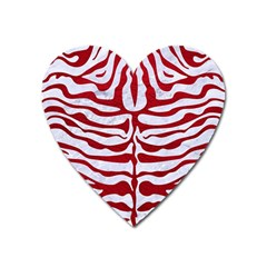 Skin2 White Marble & Red Leather (r) Heart Magnet by trendistuff