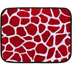 Skin1 White Marble & Red Leather (r) Fleece Blanket (mini) by trendistuff