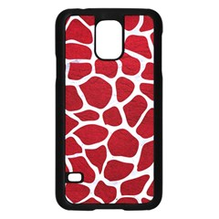 Skin1 White Marble & Red Leather (r) Samsung Galaxy S5 Case (black) by trendistuff