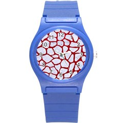 Skin1 White Marble & Red Leather Round Plastic Sport Watch (s) by trendistuff