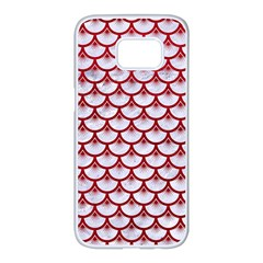 Scales3 White Marble & Red Leather (r) Samsung Galaxy S7 Edge White Seamless Case