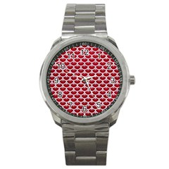 Scales3 White Marble & Red Leather Sport Metal Watch by trendistuff