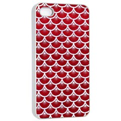 Scales3 White Marble & Red Leather Apple Iphone 4/4s Seamless Case (white) by trendistuff