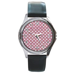 Scales2 White Marble & Red Leather (r) Round Metal Watch by trendistuff