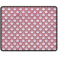 Scales2 White Marble & Red Leather (r) Double Sided Fleece Blanket (medium)  by trendistuff
