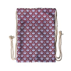 Scales2 White Marble & Red Leather (r) Drawstring Bag (small) by trendistuff