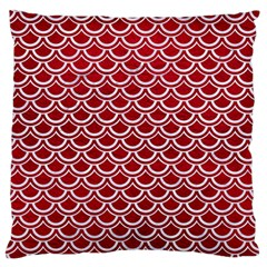 Scales2 White Marble & Red Leather Large Flano Cushion Case (two Sides) by trendistuff