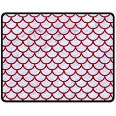 Scales1 White Marble & Red Leather (r) Fleece Blanket (medium)  by trendistuff