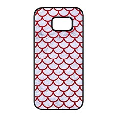 Scales1 White Marble & Red Leather (r) Samsung Galaxy S7 Edge Black Seamless Case