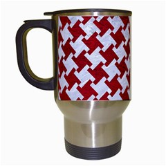Houndstooth2 White Marble & Red Leather Travel Mugs (white) by trendistuff