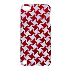 Houndstooth2 White Marble & Red Leather Apple Ipod Touch 5 Hardshell Case by trendistuff