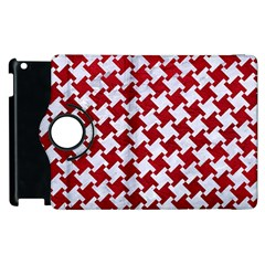 Houndstooth2 White Marble & Red Leather Apple Ipad 2 Flip 360 Case by trendistuff
