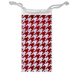 Houndstooth1 White Marble & Red Leather Jewelry Bag by trendistuff