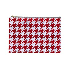 Houndstooth1 White Marble & Red Leather Cosmetic Bag (large)  by trendistuff