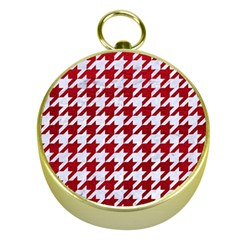 Houndstooth1 White Marble & Red Leather Gold Compasses by trendistuff