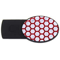 Hexagon2 White Marble & Red Leather (r) Usb Flash Drive Oval (4 Gb)