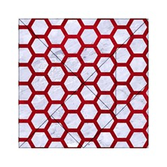 Hexagon2 White Marble & Red Leather (r) Acrylic Tangram Puzzle (6  X 6 ) by trendistuff