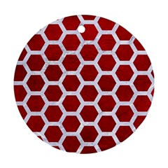 Hexagon2 White Marble & Red Leather Round Ornament (two Sides) by trendistuff