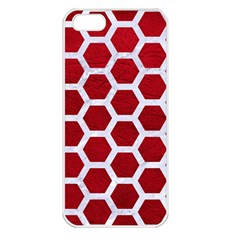 Hexagon2 White Marble & Red Leather Apple Iphone 5 Seamless Case (white) by trendistuff